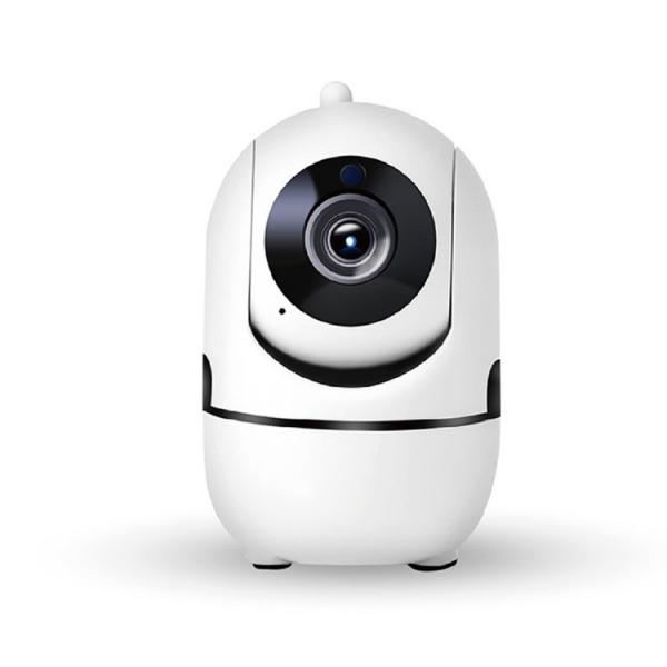 "Set Camera de supraveghere IP WIFI BabyToy™ AG26 , Full HD 2MP, Night vision, Conectare telefon / PC , Rotire automata, rezolutie 1920*1080 , senzor miscare, alb + bratara BabyToy + sticker ""obiectiv  1"