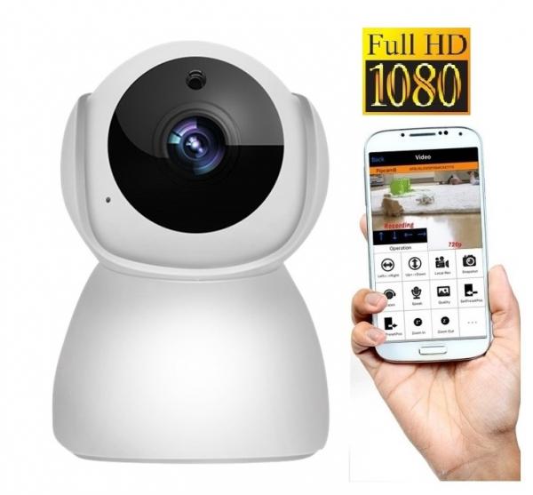 """Set Camera de supraveghere IP WIFI BabyToy™ AG27 , Full HD 2MP, Rotire Automata , Night vision, Conectare telefon / PC , Rotire automata, rezolutie 1920*1080 , senzor miscare, alb + sticker """"obiectiv  [0]"""