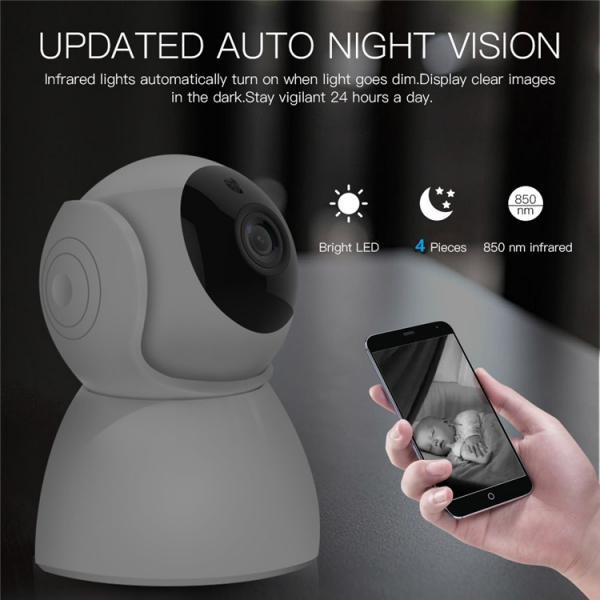 """Set Camera de supraveghere IP WIFI BabyToy™ AG27 , Full HD 2MP, Rotire Automata , Night vision, Conectare telefon / PC , Rotire automata, rezolutie 1920*1080 , senzor miscare, alb + sticker """"obiectiv  [2]"""