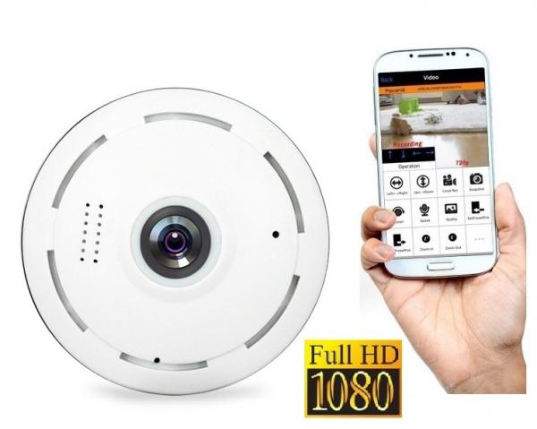 Set Camera de supraveghere IP WIFI BabyToy™ AR-P8 mini , Full HD 3MP, Night vision, Conectare telefon / PC , Vedere panoramica 360° 3D, Senzor miscare, Alarma, Comunicare audio bidirectionala, stocare 0