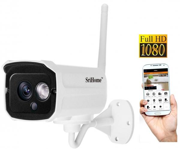"""Set Camera de supraveghere IP WIFI Sricam™ SH024 Plus SriHome Exterior , FullHD 2MP 1080p, Conectare Telefon / PC , night vision , rezistenta la apa, senzor miscare, alb + sticker """"obiectiv supraveghe 0"""