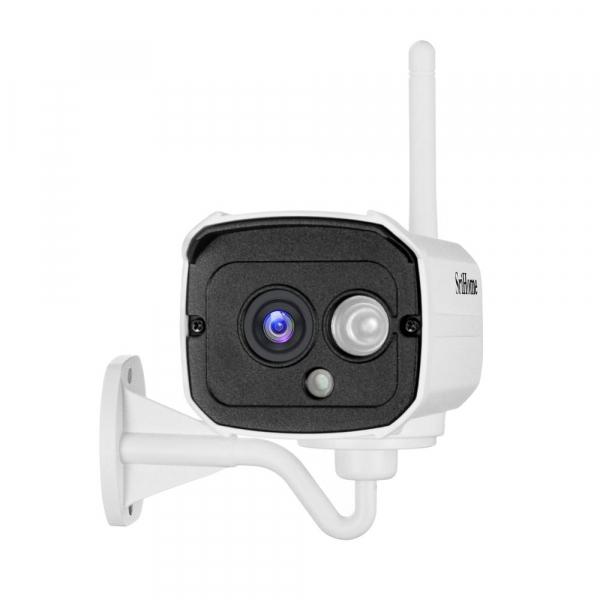 """Set Camera de supraveghere IP WIFI Sricam™ SH024 Plus SriHome Exterior , FullHD 2MP 1080p, Conectare Telefon / PC , night vision , rezistenta la apa, senzor miscare, alb + sticker """"obiectiv supraveghe 4"""