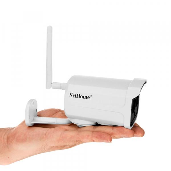 """Set Camera de supraveghere IP WIFI Sricam™ SH024 Plus SriHome Exterior , FullHD 2MP 1080p, Conectare Telefon / PC , night vision , rezistenta la apa, senzor miscare, alb + sticker """"obiectiv supraveghe 3"""