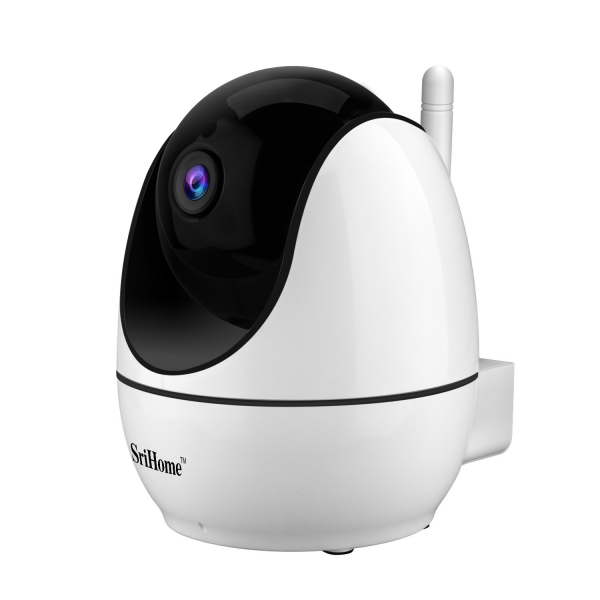 """Set Camera de supraveghere IP WIFI Sricam™ SH026 Plus SriHome, FullHD 2MP 1080p , Conectare Telefon / PC , Night vision, Rotire automata rapida, senzor miscare, alb + sticker """"obiectiv supravegheat vi 2"""