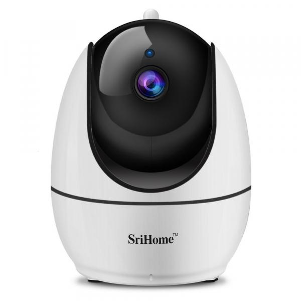 """Set Camera de supraveghere IP WIFI Sricam™ SH026 Plus SriHome, FullHD 2MP 1080p , Conectare Telefon / PC , Night vision, Rotire automata rapida, senzor miscare, alb + sticker """"obiectiv supravegheat vi 1"""