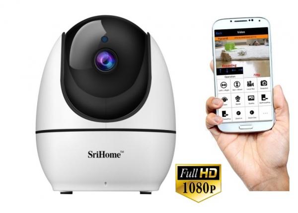 """Set Camera de supraveghere IP WIFI Sricam™ SH026 Plus SriHome, FullHD 2MP 1080p , Conectare Telefon / PC , Night vision, Rotire automata rapida, senzor miscare, alb + sticker """"obiectiv supravegheat vi 0"""