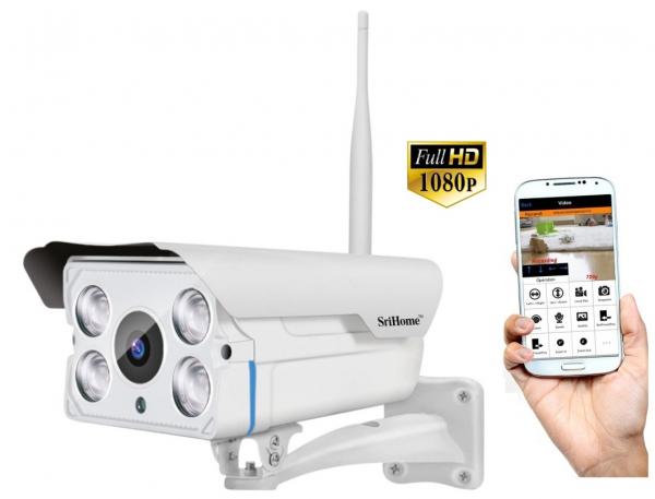 """Set Camera de supraveghere IP WIFI Sricam™ SH027 Plus SriHome Exterior , FullHD 2MP 1080p, Zoom, Conectare Telefon / PC , night vision , rezistenta la apa, senzor miscare, alb + sticker """"obiectiv supr 0"""