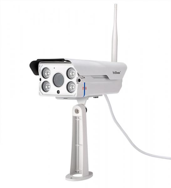 """Set Camera de supraveghere IP WIFI Sricam™ SH027 Plus SriHome Exterior , FullHD 2MP 1080p, Zoom, Conectare Telefon / PC , night vision , rezistenta la apa, senzor miscare, alb + sticker """"obiectiv supr 3"""