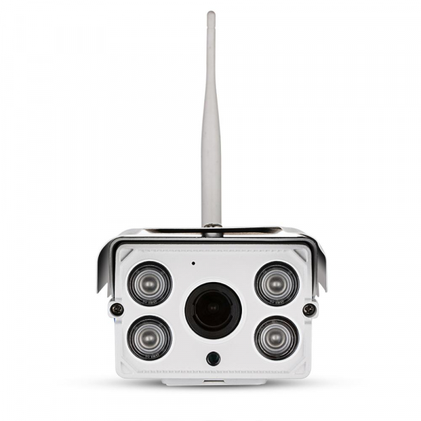 """Set Camera de supraveghere IP WIFI Sricam™ SH027 Plus SriHome Exterior , FullHD 2MP 1080p, Zoom, Conectare Telefon / PC , night vision , rezistenta la apa, senzor miscare, alb + sticker """"obiectiv supr 1"""