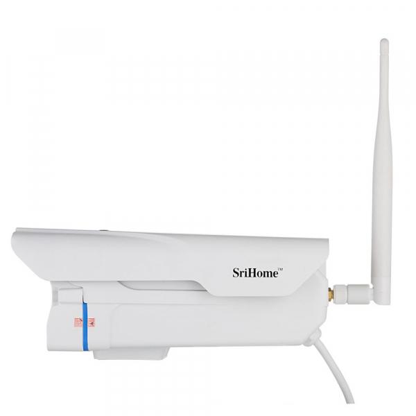 """Set Camera de supraveghere IP WIFI Sricam™ SH027 Plus SriHome Exterior , FullHD 2MP 1080p, Zoom, Conectare Telefon / PC , night vision , rezistenta la apa, senzor miscare, alb + sticker """"obiectiv supr 2"""