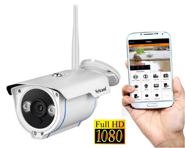 "Set Camera de supraveghere IP WIFI Sricam™ SP007 Plus, Exterior , Conectare Telefon / PC , night vision , rezistenta la apa, FullHD 1920*1080, camera 2.0 MP, senzor miscare , alb + sticker ""obiectiv s 0"