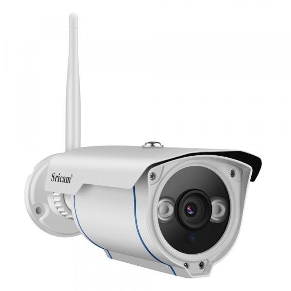 "Set Camera de supraveghere IP WIFI Sricam™ SP007 Plus, Exterior , Conectare Telefon / PC , night vision , rezistenta la apa, FullHD 1920*1080, camera 2.0 MP, senzor miscare , alb + sticker ""obiectiv s 3"