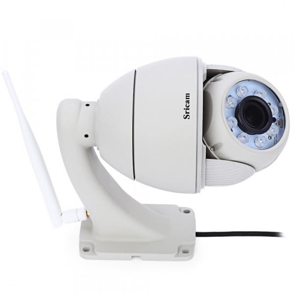 "Set Camera de supraveghere IP WIFI Sricam™ SP008B Plus , Exterior , Conectare Telefon / PC , night vision , rezistenta la apa, FullHD 1920*1080, camera 2.0 MP, senzor miscare , alb + sticker ""obiectiv 4"