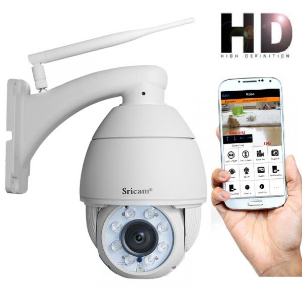 "Set Camera de supraveghere IP WIFI Sricam™ SP008B Plus , Exterior , Conectare Telefon / PC , night vision , rezistenta la apa, FullHD 1920*1080, camera 2.0 MP, senzor miscare , alb + sticker ""obiectiv 0"