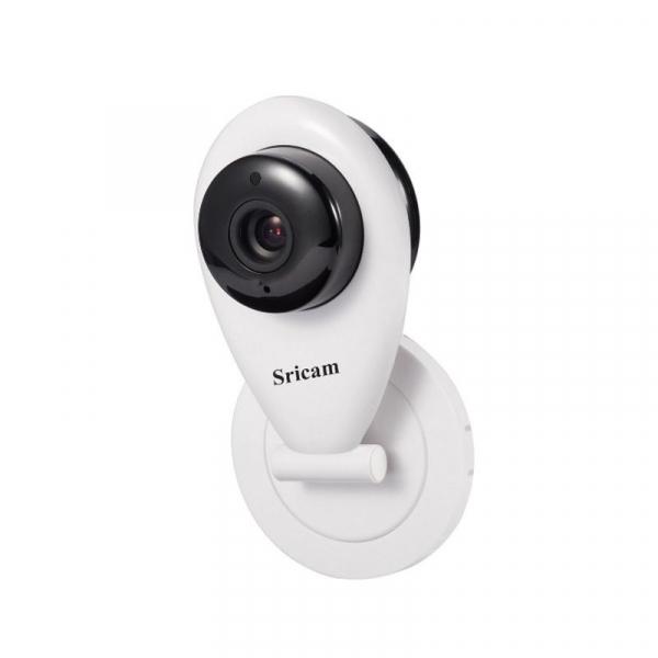 "Set Camera de supraveghere IP WIFI Sricam™ SP009 Plus, Conectare Telefon / PC , Night vision, Notificare pe mail, Sunet bidirectional,  HD 1280*720, camera 1.0 MP, senzor miscare + sticker ""obiectiv s 3"