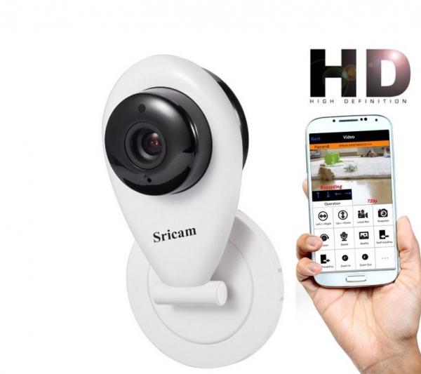 "Set Camera de supraveghere IP WIFI Sricam™ SP009 Plus, Conectare Telefon / PC , Night vision, Notificare pe mail, Sunet bidirectional,  HD 1280*720, camera 1.0 MP, senzor miscare + sticker ""obiectiv s 0"
