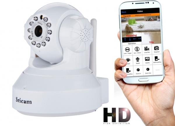 """Set Camera de supraveghere IP WIFI Sricam™ SP012 , Conectare Telefon / PC, Night vision, Rotire automata, HD 1280*720, camera 1.0 MP, senzor miscare, alb + sticker """"obiectiv supravegheat video"""" 0"""