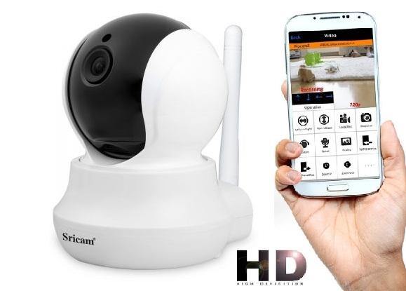 Set Camera de supraveghere IP WIFI Sricam™ SP020 , FullHD 2MP, Conectare Telefon / PC , Night vision, Rotire automata, rezolutie 1920*1080, senzor miscare, alb/negru [0]