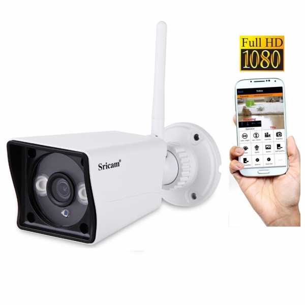 "Set Camera de supraveghere IP WIFI Sricam™ SP023 Plus, Exterior , Conectare Telefon / PC , night vision , rezistenta la apa, FullHD 1920*1080, camera 2.0 MP, senzor miscare, alb + sticker ""obiectiv su 0"