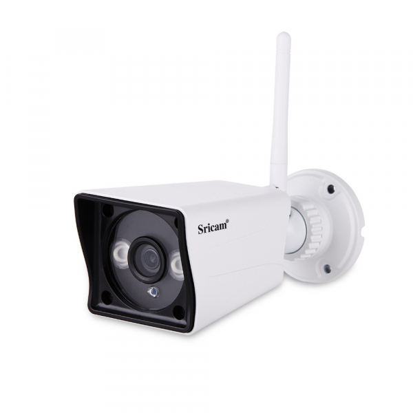"Set Camera de supraveghere IP WIFI Sricam™ SP023 Plus, Exterior , Conectare Telefon / PC , night vision , rezistenta la apa, FullHD 1920*1080, camera 2.0 MP, senzor miscare, alb + sticker ""obiectiv su 4"