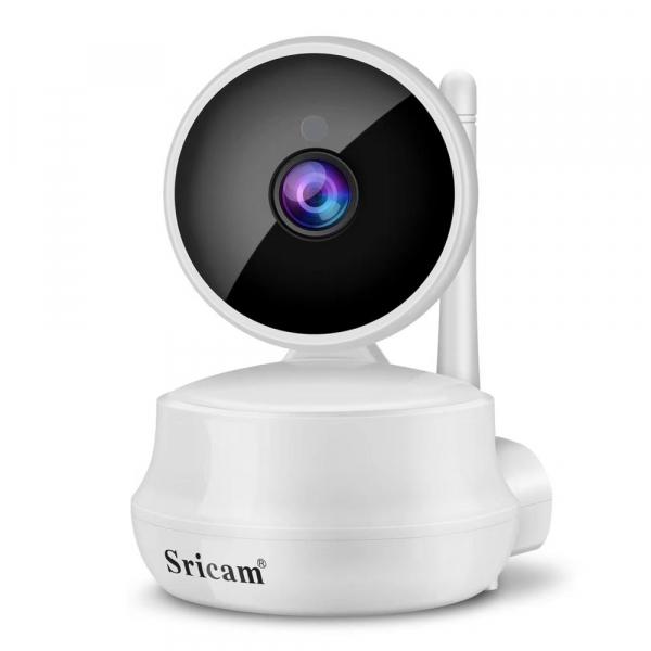 """Set Camera de supraveghere IP WIFI Sricam™ SP025 Plus, Conectare Telefon / PC , Night vision, Rotire automata, HD 1280*720, camera 1.0 MP, senzor miscare, alb + sticker """"obiectiv supravegheat video"""" [1]"""
