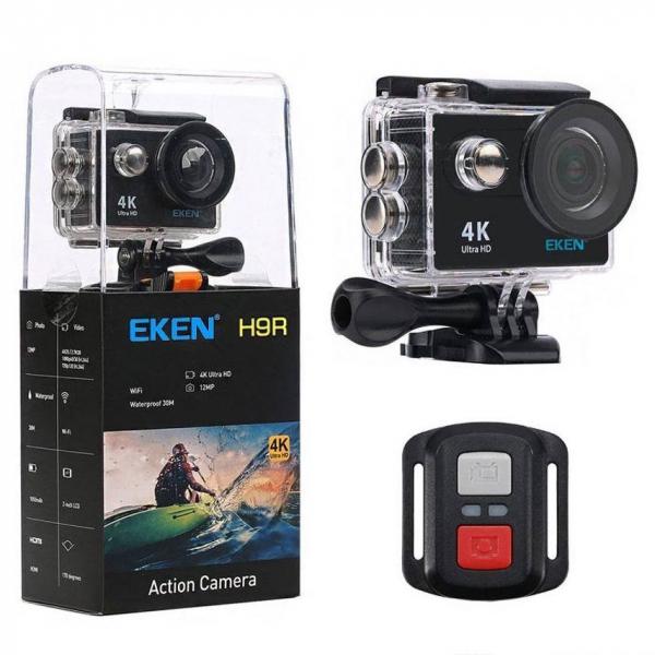 "Set Camera Video Sport Eken H9R Black 4k@25fps, Wifi, 2""LCD, telecomanda, accesorii, carcasa waterproof, negru + sticker ""obiectiv supravegheat video"" 0"