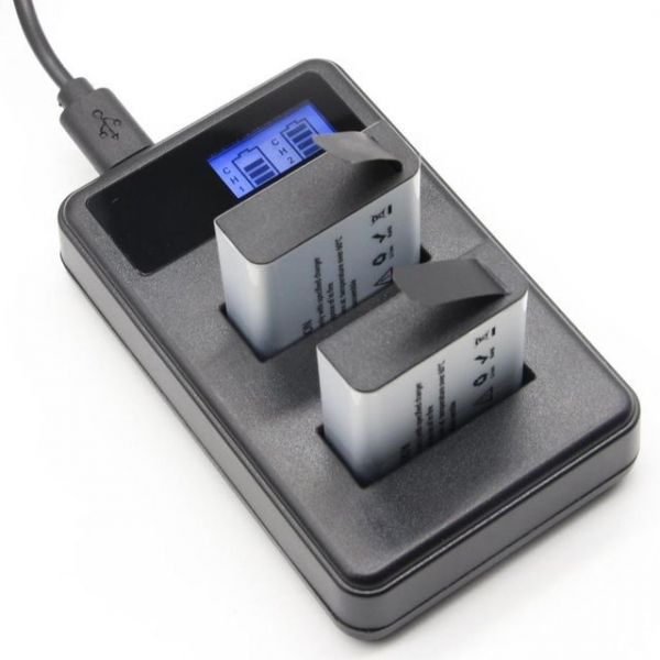 Set Incarcator acumulatori dublu LCD EKEN , SJCam + 2 acumulatori 1350mAh, cablu USB , negru 1