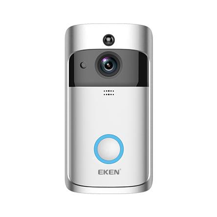 Sonerie fara fir wireless smart EKEN S1 Pro, videointerfon, wifi, cu acumulator, alerta miscare, inregistrare, comunicare bidirectionala, modul sonerie interior inclus, argintiu 1