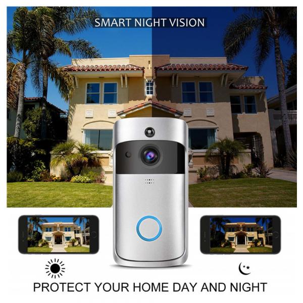 Sonerie fara fir wireless smart EKEN S1 Pro, videointerfon, wifi, cu acumulator, alerta miscare, inregistrare, comunicare bidirectionala, modul sonerie interior inclus, argintiu 3