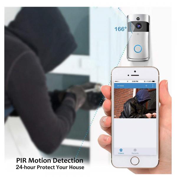 Sonerie fara fir wireless smart EKEN S1 Pro, videointerfon, wifi, cu acumulator, alerta miscare, inregistrare, comunicare bidirectionala, modul sonerie interior inclus, argintiu 2