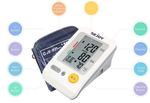 Tensiometru de brat Sejoy BP103H Premium, Afisaj LCD cu caractere mari, Auto-masurare, Detectare puls neregulat, Validat clinic, Manseta 22-36cm, Oscilometric, Adaptor manson inclus, Alb + Husa transp [1]