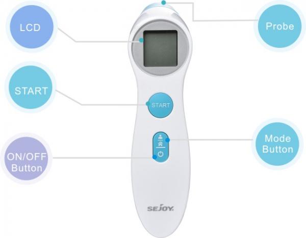 Termometru copii infrarosu non contact Sejoy® ET306 Premium, frunte, Distanta masurare 1-5 centimetrii, Automatic shut down, 20 de memorii, alb [1]