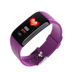 Bratara fitness MoreFIT™ CK18S, BT 4.0, Puls, Pedometru, Ritm cardiac, Display color, Monitorizare somn, Mod Sport, Notificari Apeluri si Mesaje, Stand-by 20 zile, Android, iOS, Mov [0]