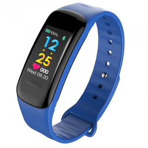 Bratara fitness MoreFIT™ FitGear C18, Puls, Ritm cardiac, Pedometru, Tensiune, Calorii, Notificari, Monitorizare somn, Stand-by 15 zile, BT 4.0, Albastru0