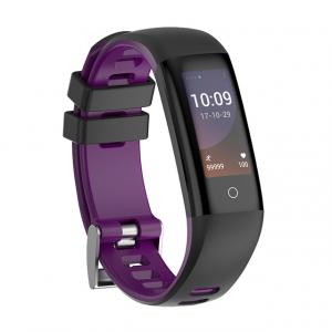 Bratara fitness MoreFIT™ G16, ecran color IPS, IP67, puls dinamic, tensiune, nivel oboseala, monitorizare somn, 5 stiluri display, stand-by 21 zile, Android, iOS, notificari, negru/mov0
