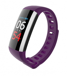 Bratara fitness MoreFIT™ G19, ecran color TFT, IP67, puls dinamic 24/24h ,oxigen ,tensiune, nivel oboseala, monitorizare somn,  remote camera, stand-by 21 zile, Android, iOS, notificari, mov [0]
