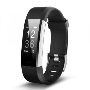 Bratara fitness MoreFIT™ Id115Plus, BT 4.0, Pasi, Distanta, Calorii, Rezistenta la apa IP67, Timp de activitate, Monitorizare Somn, SMS Alert, Puls, Negru0