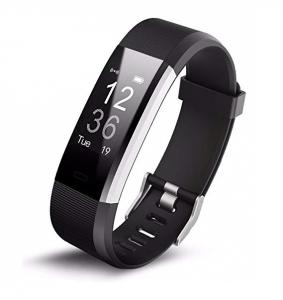 Bratara fitness MoreFIT™ Id115Plus, BT 4.0, Pasi, Distanta, Calorii, Rezistenta la apa IP67, Timp de activitate, Monitorizare Somn, SMS Alert, Puls, Negru1