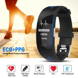 Bratara fitness MoreFIT™ P3 Plus , ritm cardiac ,PPG+EKG , tensiunea arteriala, BT 4.0, rezistenta la apa, monitorizare puls, nivel oxigen sange, Android, iOS, intrare apeluri/notificari , vibratii, n1