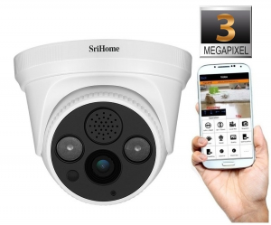 Camera de supraveghere IP WIFI Sricam™ SH030 Plus SriHome Interior, UltraHD 3MP 2048x1536, Conectare Telefon / PC , night vision , comunicare bidirectionala, senzor miscare, alb1