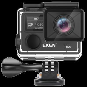 "Camera Video Sport Eken H6S+ 4k+ 14MP UHD @30fps, cu EIS Wifi, 2""LCD dual dispaly , telecomanda, accesorii, carcasa waterproof 100 feet , negru1"