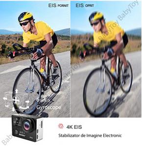 "Camera Video Sport Eken H6S+ 4k+ 14MP UHD @30fps, cu EIS Wifi, 2""LCD dual dispaly , telecomanda, accesorii, carcasa waterproof 100 feet , negru5"