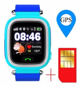 "Ceas smartwatch GPS copii MoreFIT™ GW100 Plus , cu GPS si functie telefon, Wi-Fi, ecran 1.22"" touchscreen, Bluetooth, tripla pozitionare, Buton SOS, vibratii, Albastru + SIM prepay cadou1"