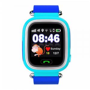 "Ceas smartwatch GPS copii MoreFIT™ GW100 Plus , cu GPS si functie telefon, Wi-Fi, ecran 1.22"" touchscreen, Bluetooth, tripla pozitionare, Buton SOS, vibratii, Albastru + SIM prepay cadou0"