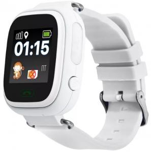 "Ceas smartwatch GPS copii MoreFIT™ GW100 Plus , cu GPS si functie telefon, Wi-Fi, ecran 1.22"" touchscreen, Bluetooth, tripla pozitionare, Buton SOS, vibratii, alb + SIM prepay cadou1"