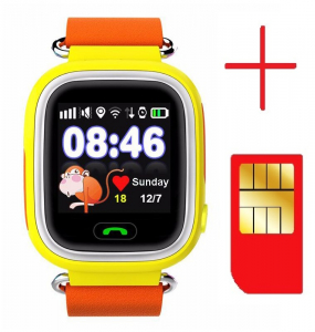 "Ceas smartwatch GPS copii MoreFIT™ GW100 Plus , cu GPS si functie telefon, Wi-Fi, ecran 1.22"" touchscreen, Bluetooth, tripla pozitionare, Buton SOS, vibratii, Galben + SIM prepay cadou2"