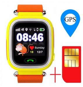 "Ceas smartwatch GPS copii MoreFIT™ GW100 Plus , cu GPS si functie telefon, Wi-Fi, ecran 1.22"" touchscreen, Bluetooth, tripla pozitionare, Buton SOS, vibratii, Galben + SIM prepay cadou1"
