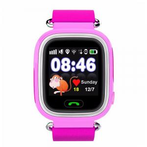 "Ceas smartwatch GPS copii MoreFIT™ GW100 Plus , cu GPS si functie telefon, Wi-Fi, ecran 1.22"" touchscreen, Bluetooth, tripla pozitionare, Buton SOS, vibratii, Roz + SIM prepay cadou0"
