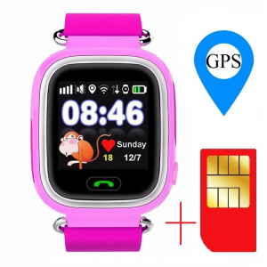 "Ceas smartwatch GPS copii MoreFIT™ GW100 Plus , cu GPS si functie telefon, Wi-Fi, ecran 1.22"" touchscreen, Bluetooth, tripla pozitionare, Buton SOS, vibratii, Roz + SIM prepay cadou1"