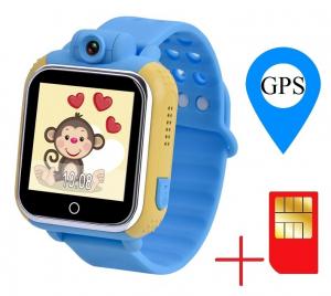 "Ceas smartwatch GPS copii MoreFIT™ GW1000 3G Pro , GPS, camera 2MP, Wi-FI si functie telefon, ecran touchscreen 1.54"", buton SOS, Albastru + SIM prepay cadou [1]"